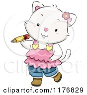 Cartoon Of A White Kitten In Clothing Carrying A Pencil Royalty Free Vector Clipart by BNP Design Studio