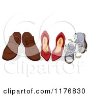 Cartoon Of Family Shoes Side By Side Royalty Free Vector Clipart by BNP Design Studio