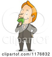 Cartoon Of A Happy Businessman Smelling Cash Money Royalty Free Vector Clipart