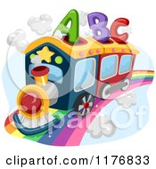Cartoon Of An Abc Alphabet Train On A Rainbow Royalty Free Vector Clipart
