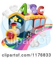 Cartoon Of An Abc Alphabet Train On A Rainbow Royalty Free Vector Clipart by BNP Design Studio
