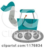Cartoon Of A Construction Backhoe Excavator Royalty Free Vector Clipart by BNP Design Studio