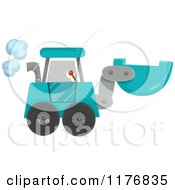 Cartoon Of A Blue Construction Excavator Machine Royalty Free Vector Clipart