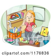 Cartoon Of A Woman Strategizing How To Declutter Her Office Royalty Free Vector Clipart