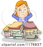 Cartoon Of An Overwhelmed Businesswoman With Files Stacked On Her Desk Royalty Free Vector Clipart by BNP Design Studio
