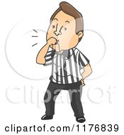 Cartoon Of A Referee Blowing A Whistle Royalty Free Vector Clipart