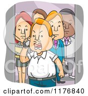 Cartoon Of People Watching An Angry Man Shout Into A Cell Phone On An Elevator Royalty Free Vector Clipart