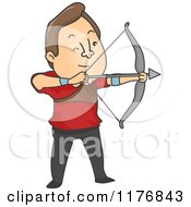 Cartoon Of An Archer Man Aiming An Arrow Royalty Free Vector Clipart by BNP Design Studio