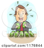 Cartoon Of A Rich Businessman Counting His Bundled Money Royalty Free Vector Clipart