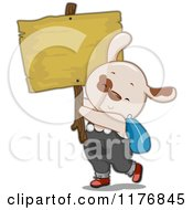 Cartoon Of A Student Puppy Holding A Wooden Sign Royalty Free Vector Clipart