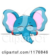 Cartoon Of A Blue Elephant With Glasses Looking Over A Sign Royalty Free Vector Clipart