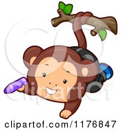 Cartoon Of A Cute Monkey Holding A Crayon And Swinging From A Branch Royalty Free Vector Clipart