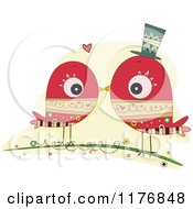 Cartoon Of A Red Doodle Bird Couple Kissing On A Branch Royalty Free Vector Clipart