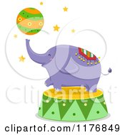 Purple Circus Elephant Playing With A Ball