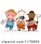 Cartoon Of A Farmer Pig Cow And Horse With A Bucket And Rake Royalty Free Vector Clipart