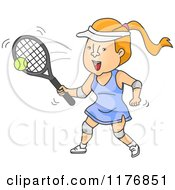 Cartoon Of A Happy Woman Playing Tennis Royalty Free Vector Clipart