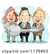 Cartoon Of A Happy Business Team Holding A Large Key Royalty Free Vector Clipart by BNP Design Studio