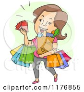 Cartoon Of A Happy Brunette Woman With Coupons And Shopping Bags Royalty Free Vector Clipart