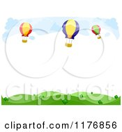 Cartoon Of A Background Of Hot Air Balloons Over Hills With Copyspace Royalty Free Vector Clipart