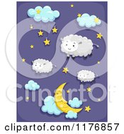 Cartoon Of A Starry And Cloudy Night Sky With Sheep Royalty Free Vector Clipart