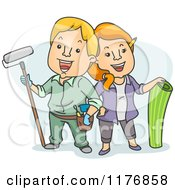 Cartoon Of A Happy DIY Couple With Painting And Wallpaper Gear Royalty Free Vector Clipart
