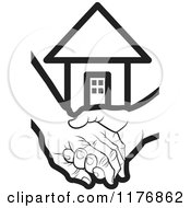Clipart Of A Black And White Young Hand Holding A Senior Hand With A House Royalty Free Vector Illustration by Lal Perera