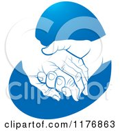 Clipart Of A Young Hand Holding A Senior Hand On A Blue Heart Royalty Free Vector Illustration