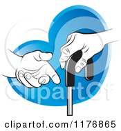 Clipart Of A Helping Hand Offering Assistance To A Senior Hand On A Cane Over A Blue Heart Royalty Free Vector Illustration