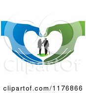 Clipart Of A Silhouetted Caring Nurse Walking With A Man And A Cane In Green And Blue Hands Royalty Free Vector Illustration by Lal Perera #COLLC1176866-0106