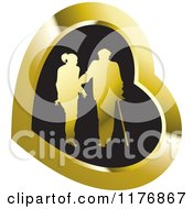 Clipart Of A Silhouetted Caring Nurse Walking With A Man And A Cane In A Gold And Black Heart Royalty Free Vector Illustration by Lal Perera