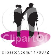 Clipart Of A Silhouetted Caring Nurse Walking With A Man And A Cane On A Purple Heart Royalty Free Vector Illustration by Lal Perera