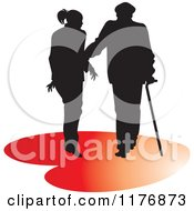 Clipart Of A Silhouetted Caring Nurse Walking With A Man And A Cane On A Red Heart Royalty Free Vector Illustration
