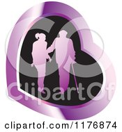 Clipart Of A Silhouetted Caring Nurse Walking With A Man And A Cane Over A Black And Purple Heart Royalty Free Vector Illustration