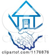 Clipart Of A Blue Young Hand Holding A Senior Hand With A House Royalty Free Vector Illustration
