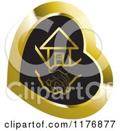 Clipart Of A Young Hand Holding A Senior Hand Over Black In A Gold Heart Royalty Free Vector Illustration