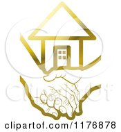 Clipart Of A Gold Young Hand Holding A Senior Hand With A House Royalty Free Vector Illustration