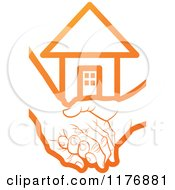 Clipart Of An Orange Young Hand Holding A Senior Hand With A House Royalty Free Vector Illustration