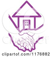 Clipart Of A Purple Young Hand Holding A Senior Hand With A House Royalty Free Vector Illustration