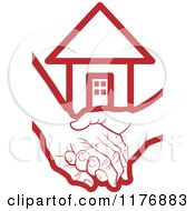 Clipart Of A Red Young Hand Holding A Senior Hand With A House Royalty Free Vector Illustration