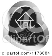 Clipart Of A Young Hand Holding A Senior Hand Over Black In A Silver Heart Royalty Free Vector Illustration by Lal Perera