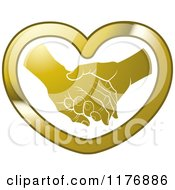 Clipart Of A Gold Young Hand Holding A Senior Hand In A Heart Royalty Free Vector Illustration
