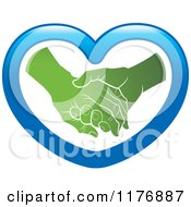 Clipart Of A Green Young Hand Holding A Senior Hand In A Blue Heart Royalty Free Vector Illustration