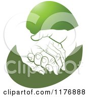 Clipart Of A Young Hand Holding A Senior Hand On A Green Heart Royalty Free Vector Illustration