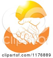Clipart Of A Young Hand Holding A Senior Hand On An Orange Heart Royalty Free Vector Illustration by Lal Perera