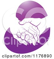 Clipart Of A Young Hand Holding A Senior Hand On A Purple Heart Royalty Free Vector Illustration