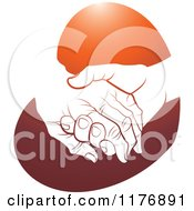 Clipart Of A Young Hand Holding A Senior Hand On A Red Heart Royalty Free Vector Illustration