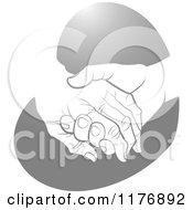 Clipart Of A Young Hand Holding A Senior Hand On A Silver Heart Royalty Free Vector Illustration