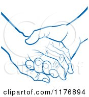 Clipart Of A Blue Young Hand Holding A Senior Hand Royalty Free Vector Illustration