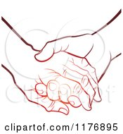 Clipart Of A Gradient Red Young Hand Holding A Senior Hand Royalty Free Vector Illustration by Lal Perera