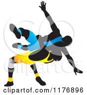 Clipart Of Silhouetted Wrestlers In Blue And Yellow Uniforms Royalty Free Vector Illustration by Lal Perera